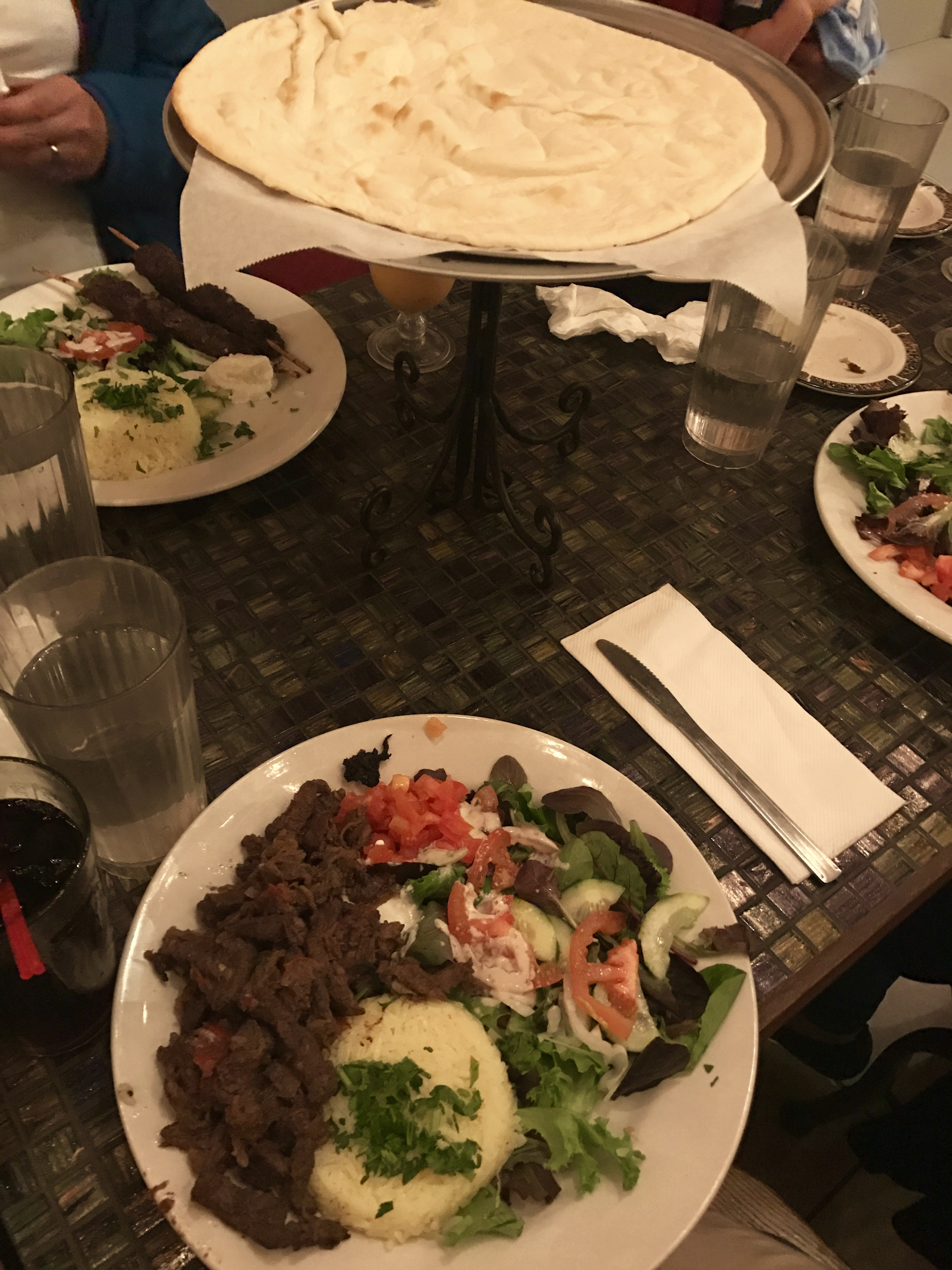 My cousin's Shawarma plate with rice and salad (shredded beef)