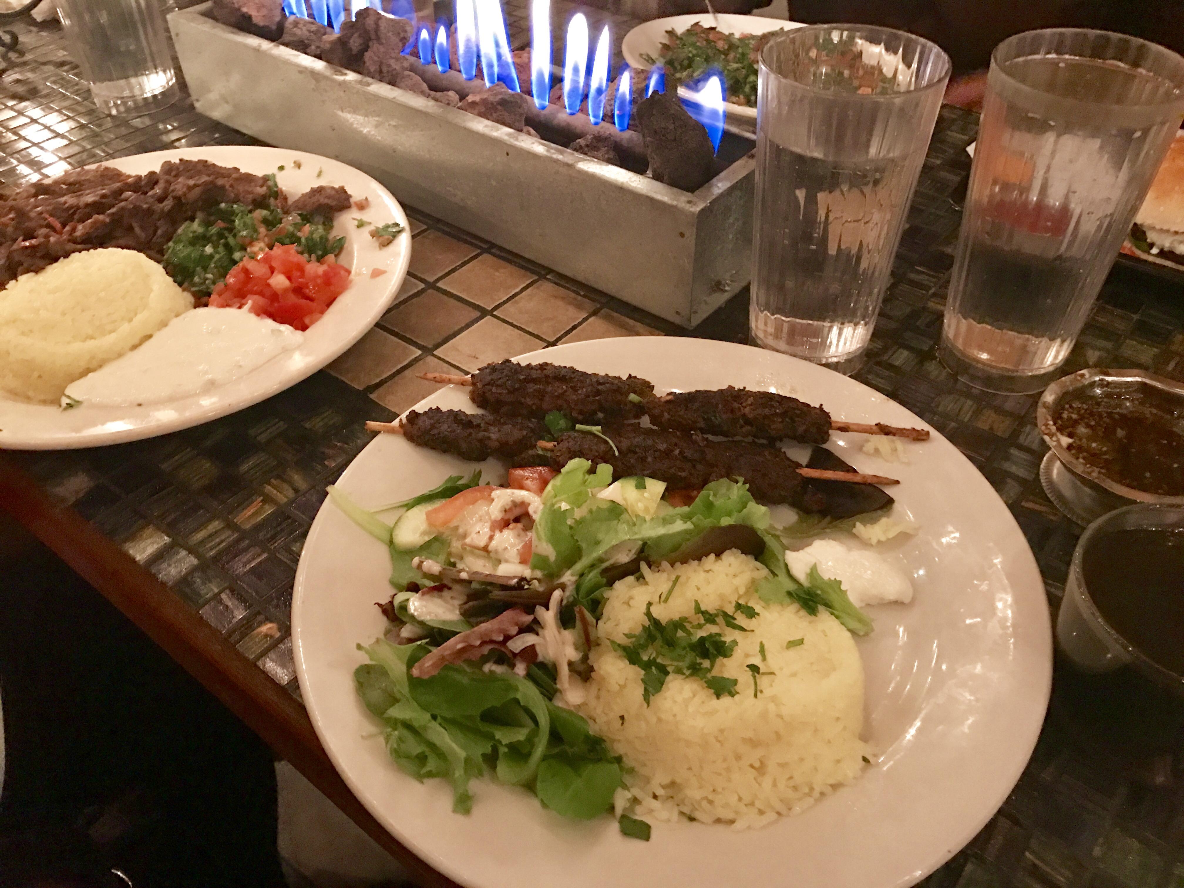 My Beef Kafta Kabab with rice and salad