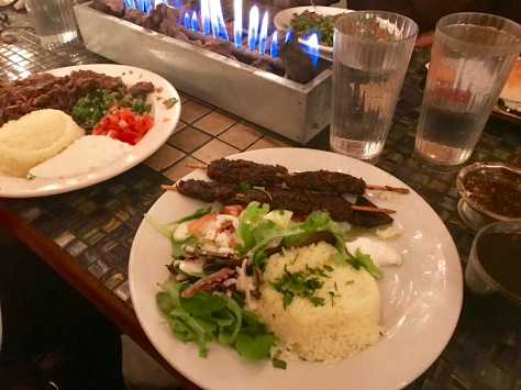 My Beef Kafta Kabab with rice and salad