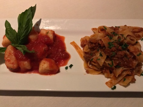 My Gnocchi al pomodoro and Pici al sugo at Gallo Nero