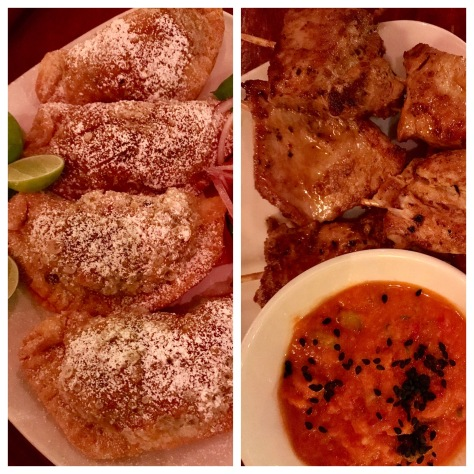 Beef Empanada (left) and Chicken kabob (right) in Andina, Porltnad