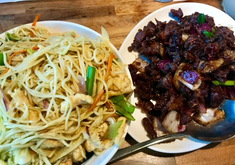 Hakka noodles with chicken (left) and lamb cumin (right) in Inchina's Bamboo Garden - Hillsboro