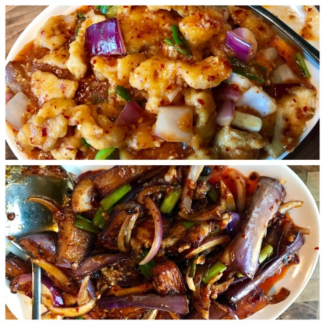 Fish in manchurian sauce (top) and eggplant in bean sauce (bottom) in Inchin's Bamboo Garden - Hillsboro