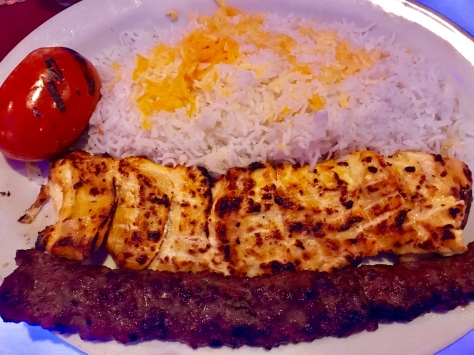 My chicken soltani kebab with rice in Pasha Restaurant & Lounge