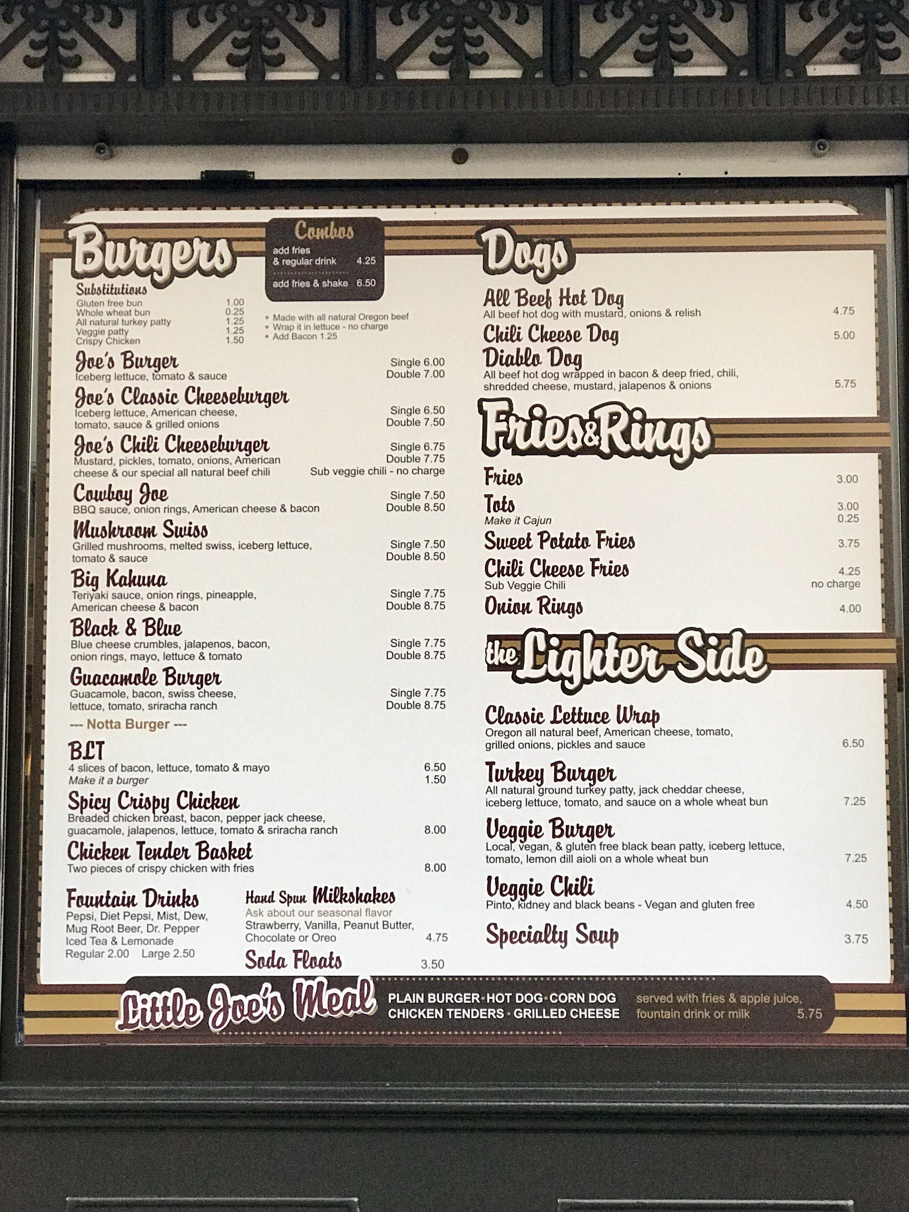 Joe's Burgers Menu in Bridgeport Mall, Tigard