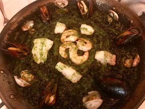 Paella in Squid ink with seafood in Can Font, Pearl District, Oregon