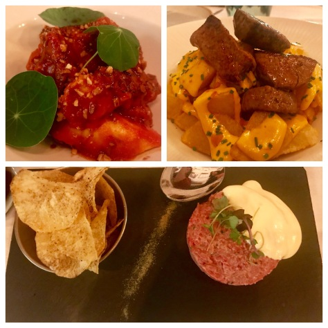 Top left - octopus and beef tongue, top right - potato bravas, and bottom - beef tenderloin tartare in Can Font, Oregon