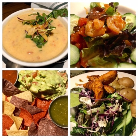 Soup, shrimp ceviche, guacamole, and Pollo con Papas in Verde Cocina