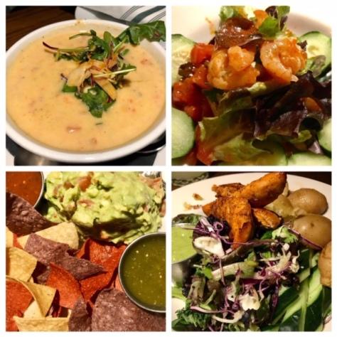 Soup, shrimp ceviche, guacamole, and Pollo con Papas in Verde Cocina