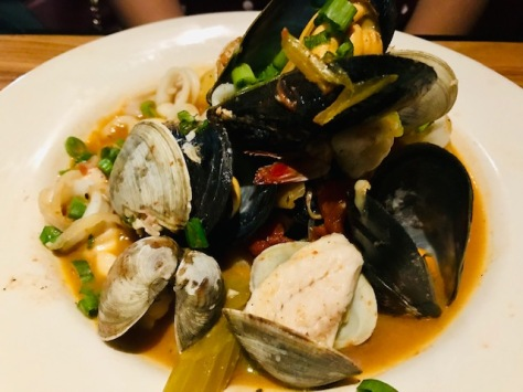 Seafood pasta in Q Restaurant and Bar