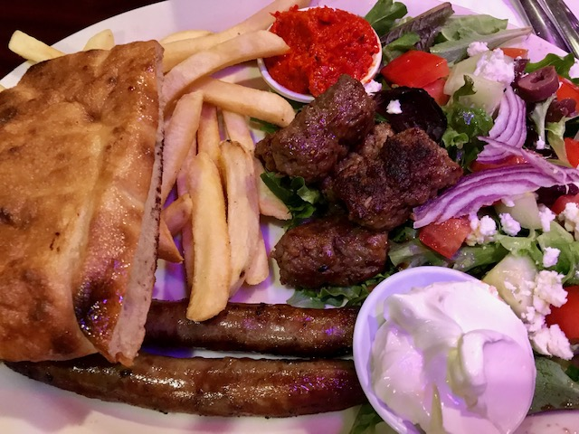 My favorite dish in Two Brothers Cafe and Grill - combo platter with Chevapi (beef kababs) and beef sausages
