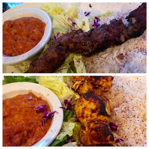 Beef and chicken kababs in Dar Salam Lazurdi in Portland Downtown