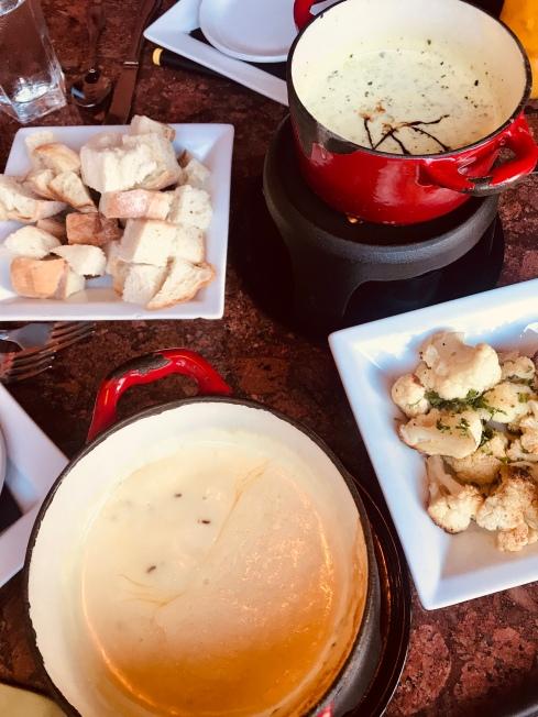 Cheese fondue with bread in Urban Fondue in Portland, OR