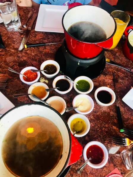 All the dipping sauce with dinner in Urban Fondue in Portland, OR