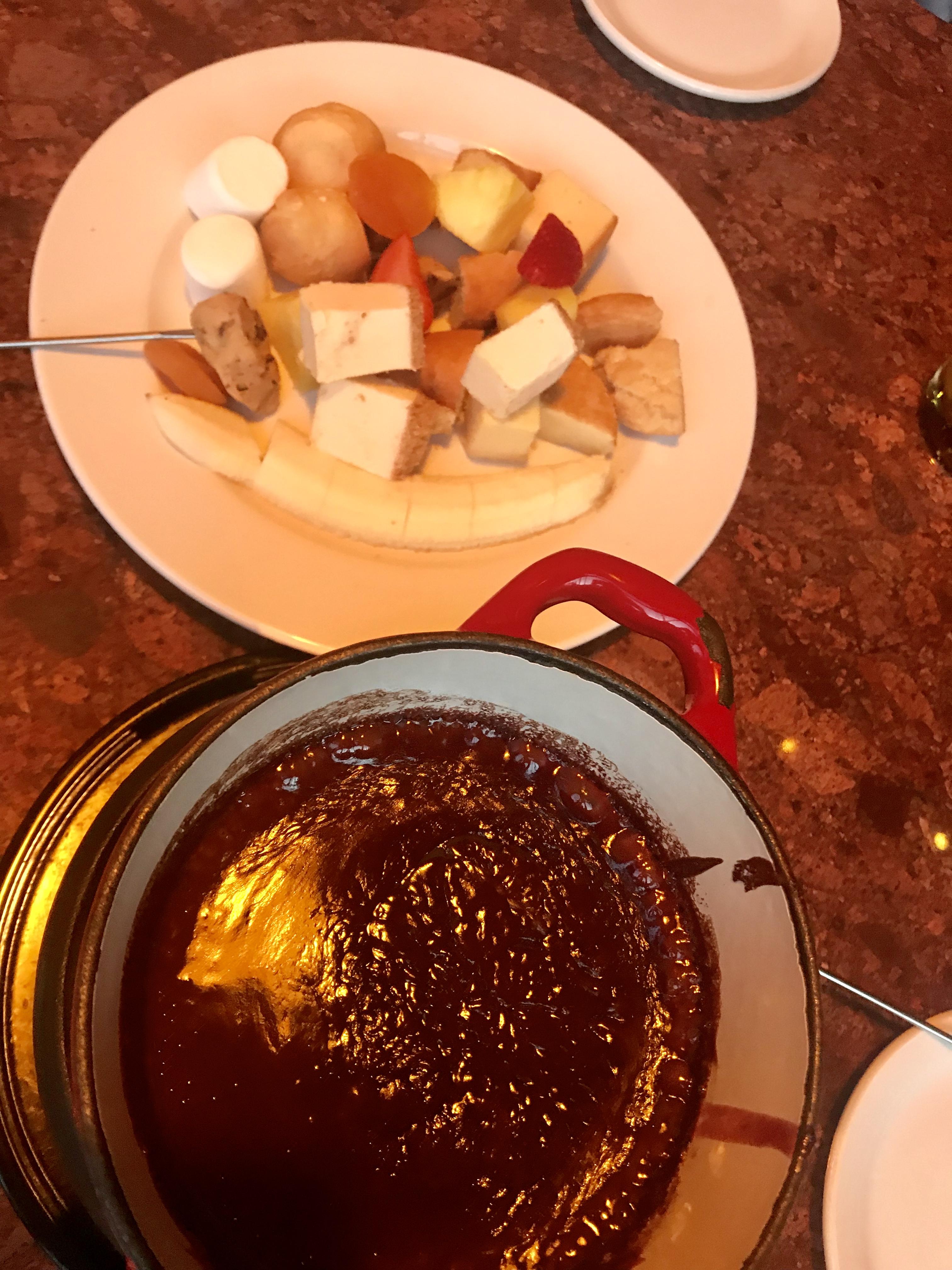 Raspberry Swirls with combo platter for dessert in Urban Fondue in Portland, OR