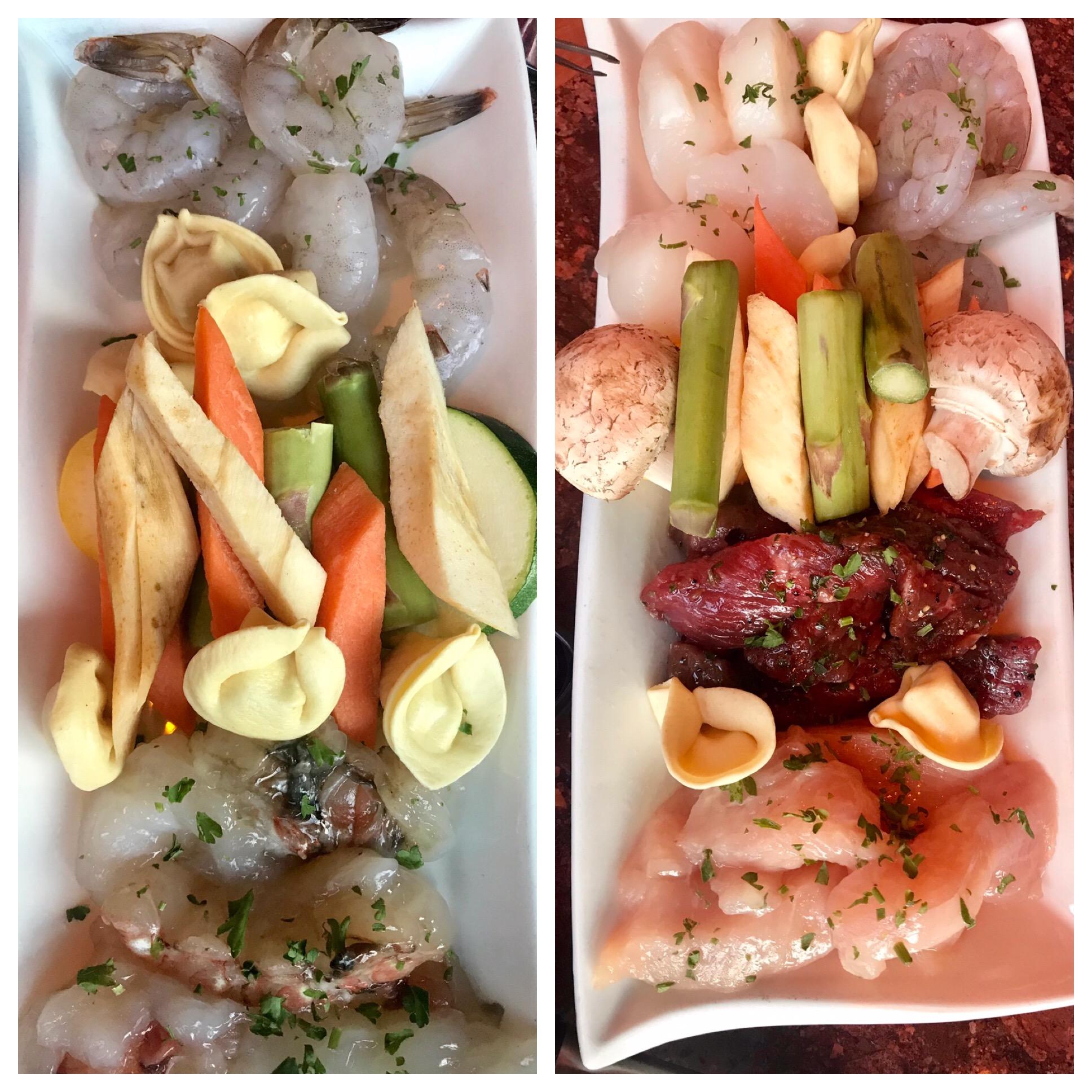 Raw meat/fish/vegetable platters in Urban Fondue in Portland, OR