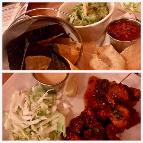 Guacamole & nachos and firecracker shrimps at Rock Bottom Restaurant and Brewery in Portland Downtown