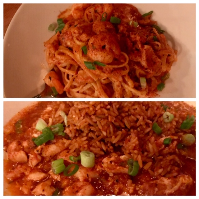 My cajun pasta (top) and jambalaya (bottom) in Rock Bottom Restaurant and Brewery in Downtown Portland